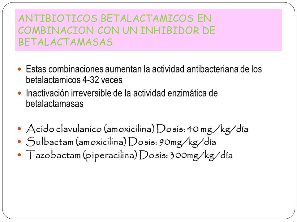 ANTIBIOTICOS BETALACTAMICOS EN COMBINACION CON UN INHIBIDOR DE BETALACTAMASAS Estas combinaciones aumentan la actividad antibacteriana de los betalact