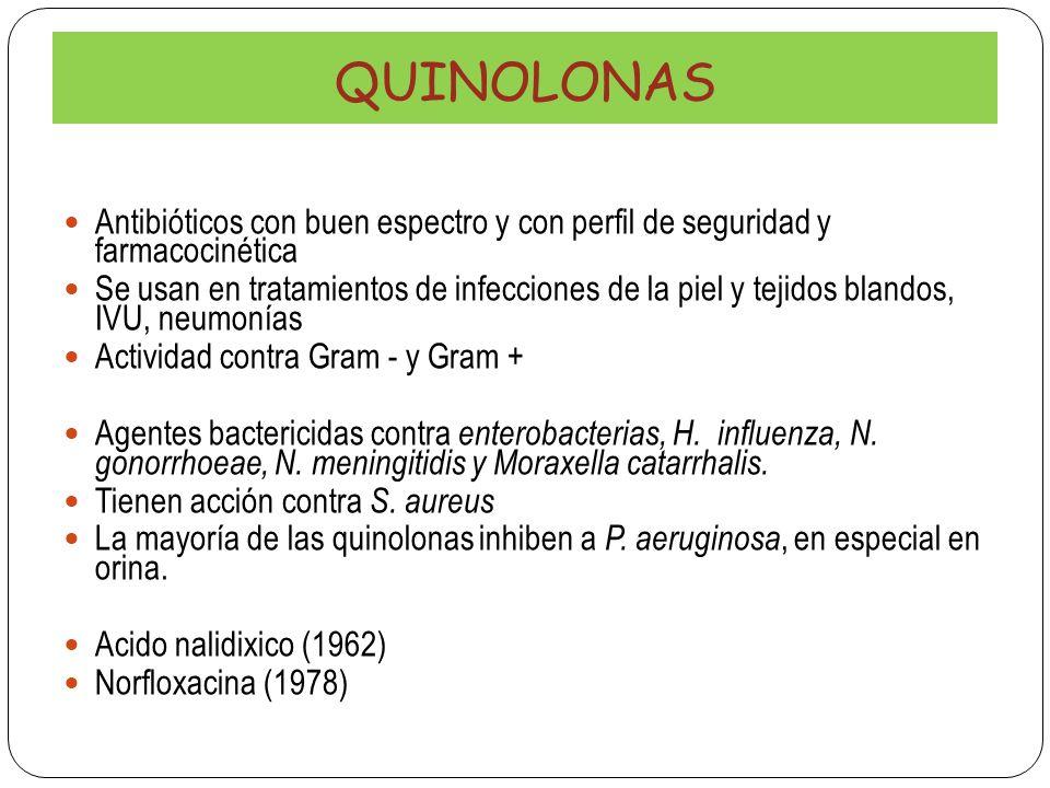 QUINOLONAS Antibióticos con buen espectro y con perfil de seguridad y farmacocinética Se usan en tratamientos de infecciones de la piel y tejidos blan