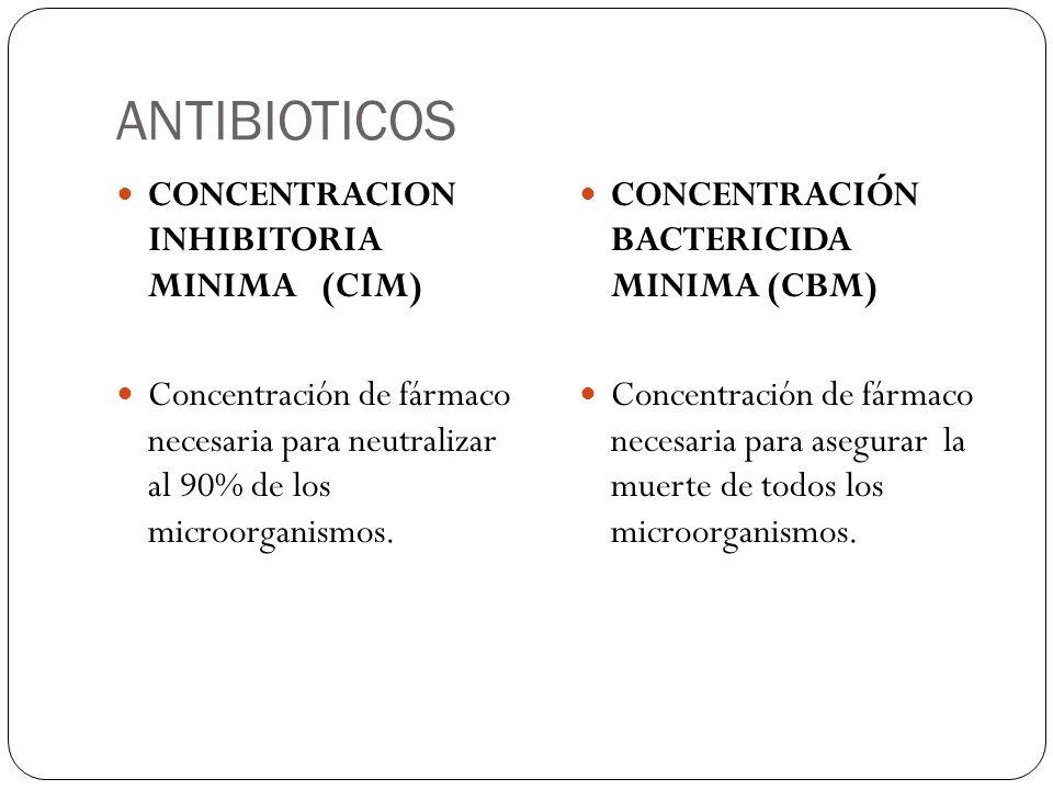 ANTIBIOTICOS CONCENTRACION INHIBITORIA MINIMA (CIM) Concentración de fármaco necesaria para neutralizar al 90% de los microorganismos. CONCENTRACIÓN B