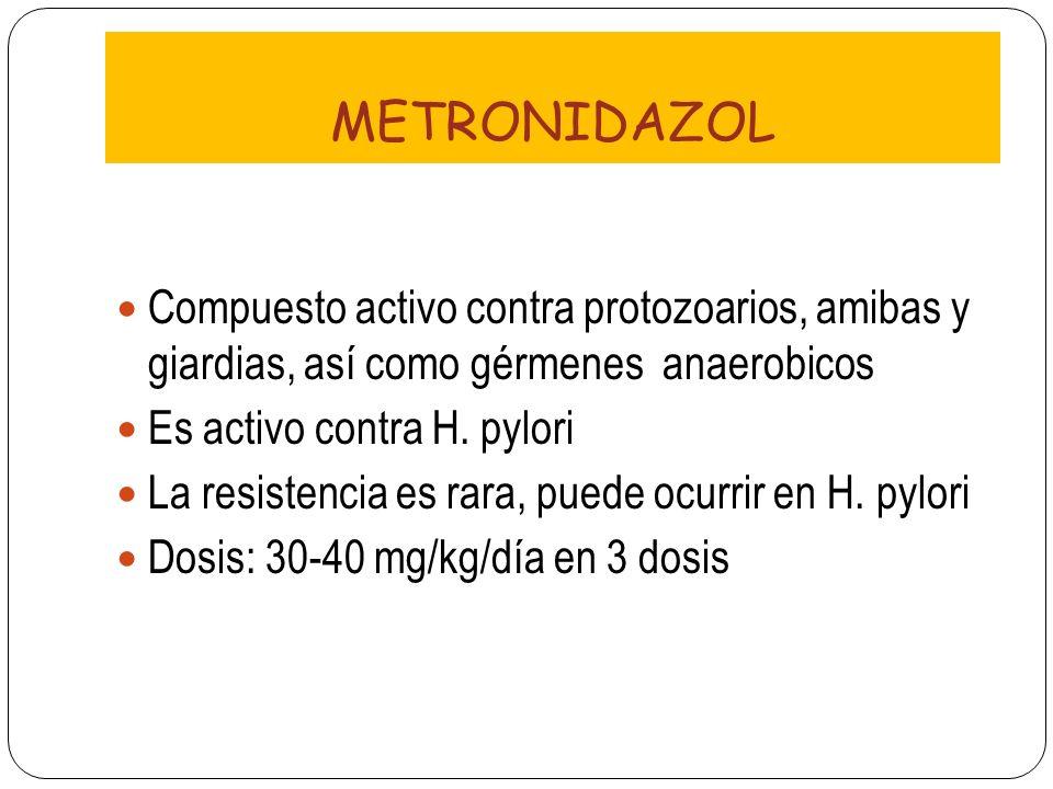 METRONIDAZOL Compuesto activo contra protozoarios, amibas y giardias, así como gérmenes anaerobicos Es activo contra H. pylori La resistencia es rara,