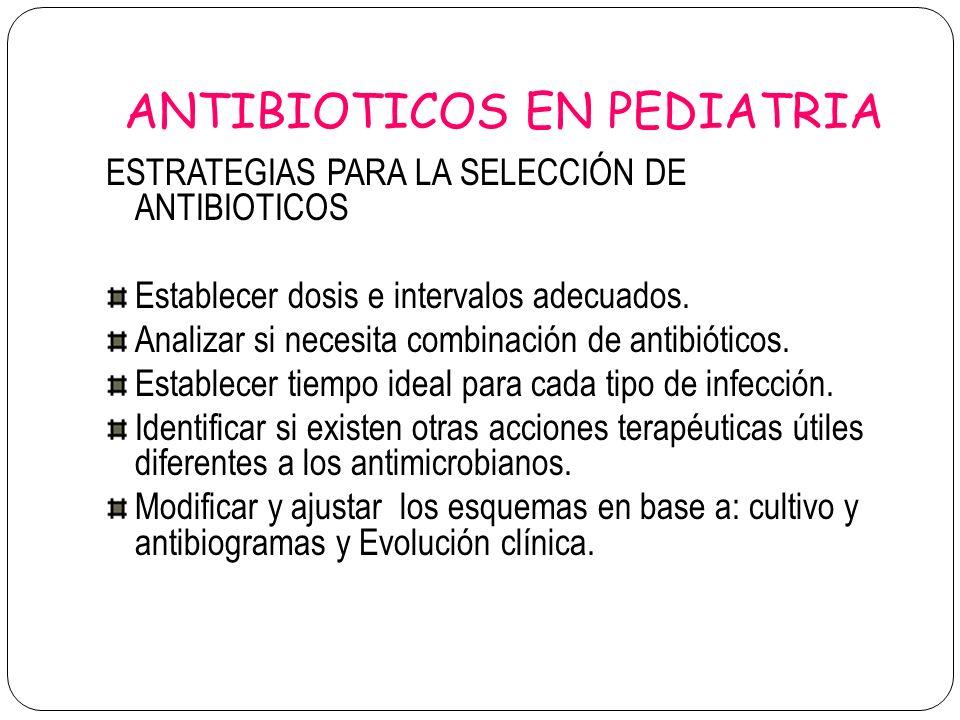 ANTIBIOTICOS EN PEDIATRIA ESTRATEGIAS PARA LA SELECCIÓN DE ANTIBIOTICOS Establecer dosis e intervalos adecuados. Analizar si necesita combinación de a