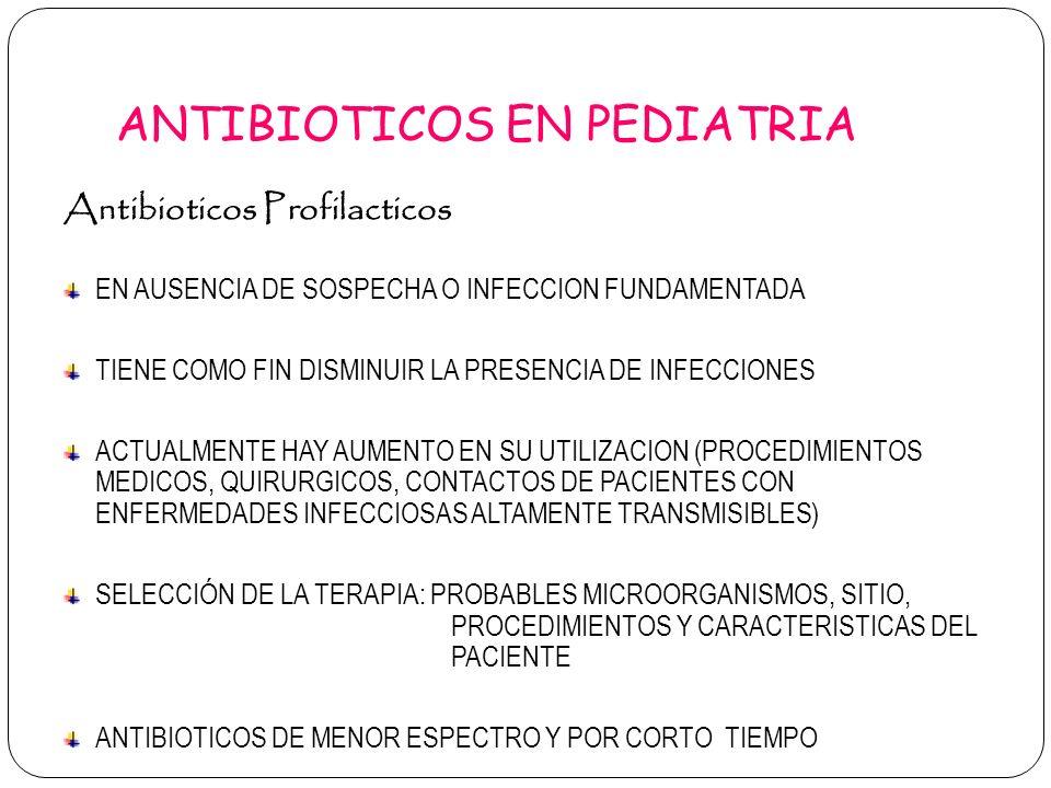 ANTIBIOTICOS EN PEDIATRIA Antibioticos Profilacticos EN AUSENCIA DE SOSPECHA O INFECCION FUNDAMENTADA TIENE COMO FIN DISMINUIR LA PRESENCIA DE INFECCI