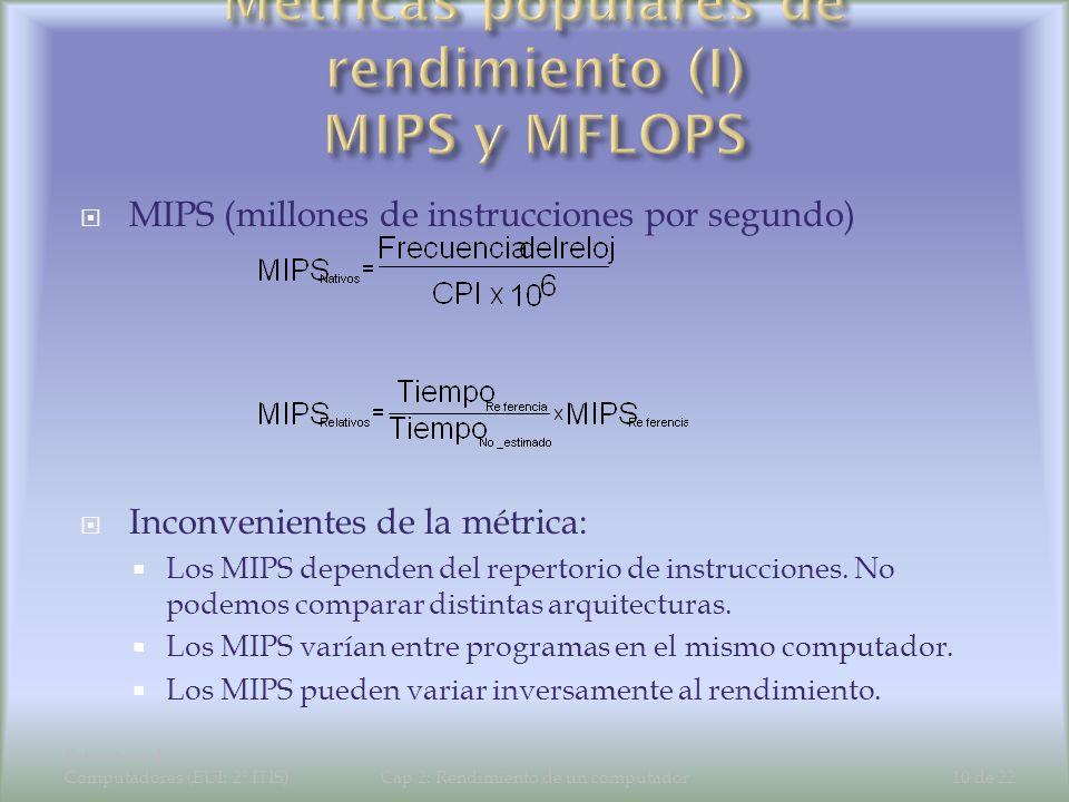 Estructura de Computadores (EUI: 2º ITIS)Cap 2: Rendimiento de un computador10 de 22 MIPS (millones de instrucciones por segundo) Inconvenientes de la