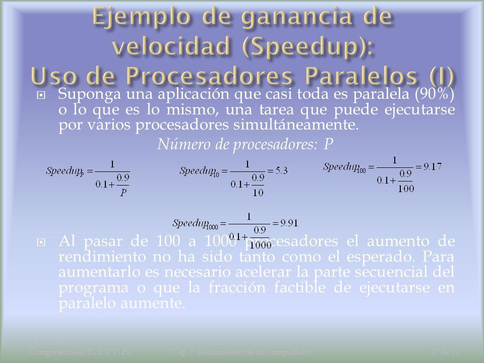 Estructura de Computadores (EUI: 2º ITIS)Cap 2: Rendimiento de un computador17 de 22 Suponga una aplicación que casi toda es paralela (90%) o lo que e