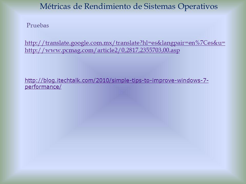 Métricas de Rendimiento de Sistemas Operativos Pruebas http://translate.google.com.mx/translate?hl=es&langpair=en%7Ces&u= http://www.pcmag.com/article