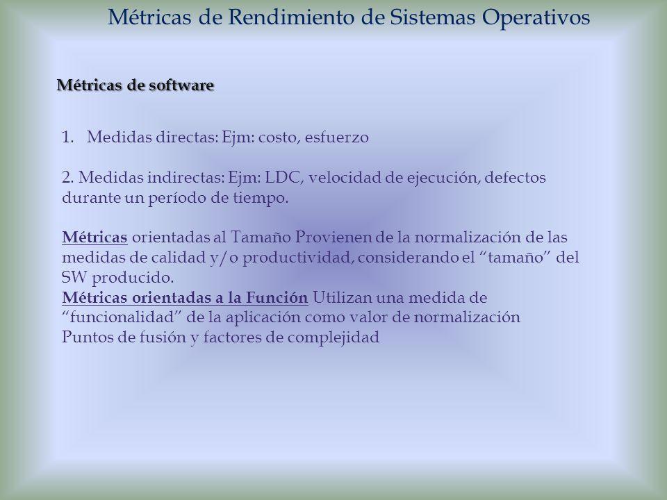 Métricas de Rendimiento de Sistemas Operativos Métricas de software 1.Medidas directas: Ejm: costo, esfuerzo 2. Medidas indirectas: Ejm: LDC, velocida