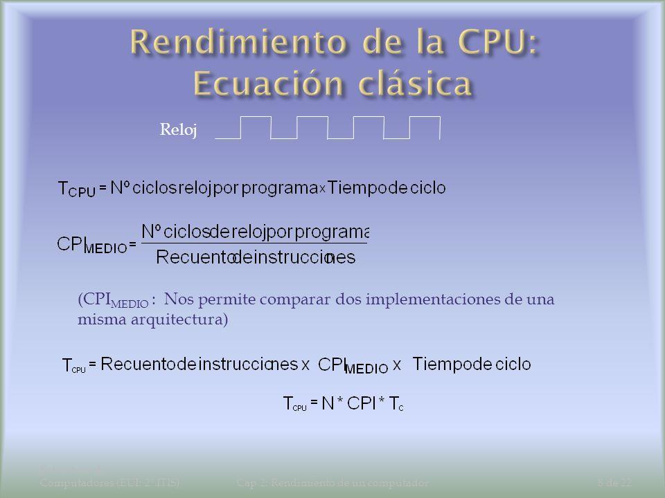 Estructura de Computadores (EUI: 2º ITIS)Cap 2: Rendimiento de un computador8 de 22 (CPI MEDIO : Nos permite comparar dos implementaciones de una mism