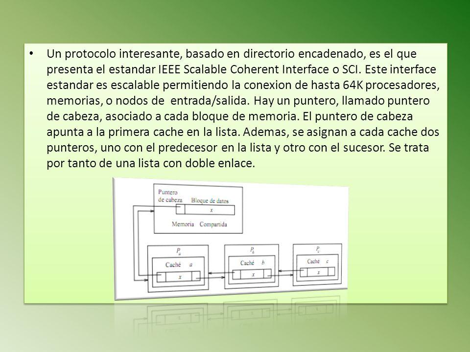 Un protocolo interesante, basado en directorio encadenado, es el que presenta el estandar IEEE Scalable Coherent Interface o SCI. Este interface estan