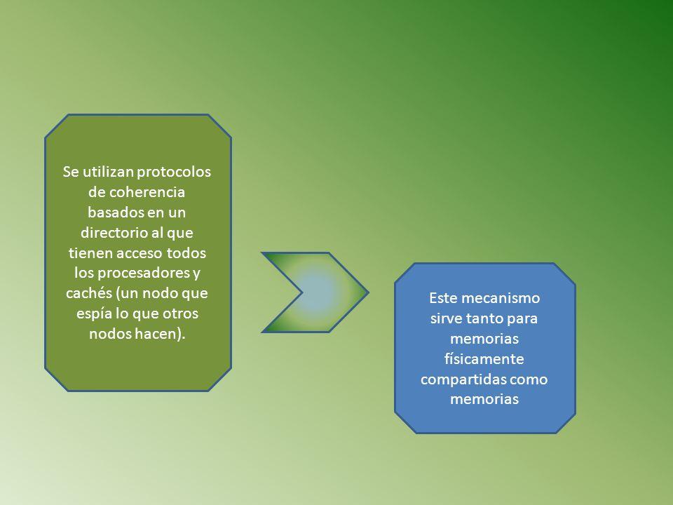 Se utilizan protocolos de coherencia basados en un directorio al que tienen acceso todos los procesadores y cachés (un nodo que espía lo que otros nod
