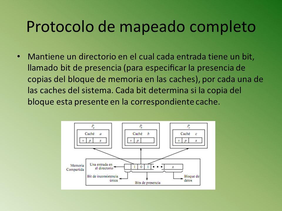 Protocolo de mapeado completo Mantiene un directorio en el cual cada entrada tiene un bit, llamado bit de presencia (para especicar la presencia de co