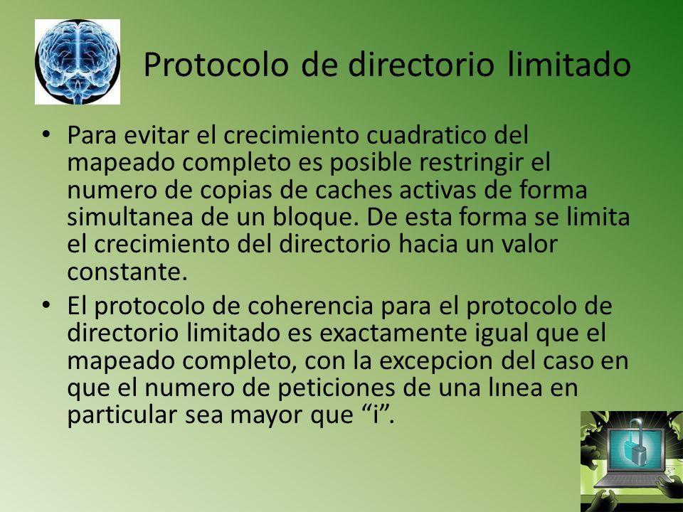 Protocolo de directorio limitado Para evitar el crecimiento cuadratico del mapeado completo es posible restringir el numero de copias de caches activa