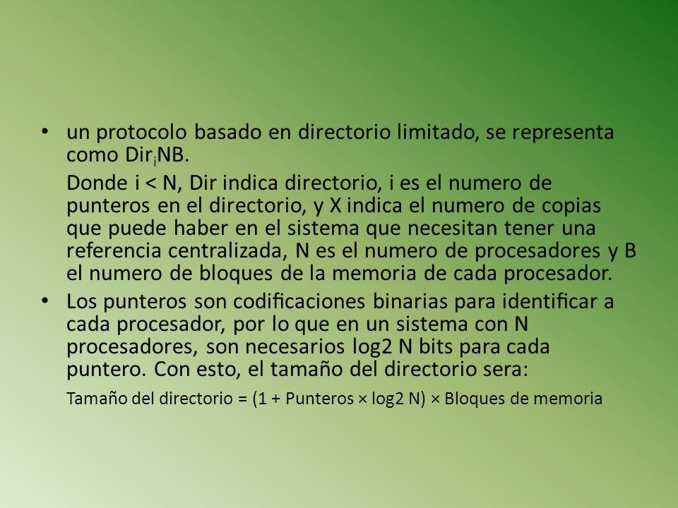 un protocolo basado en directorio limitado, se representa como Dir i NB. Donde i < N, Dir indica directorio, i es el numero de punteros en el director