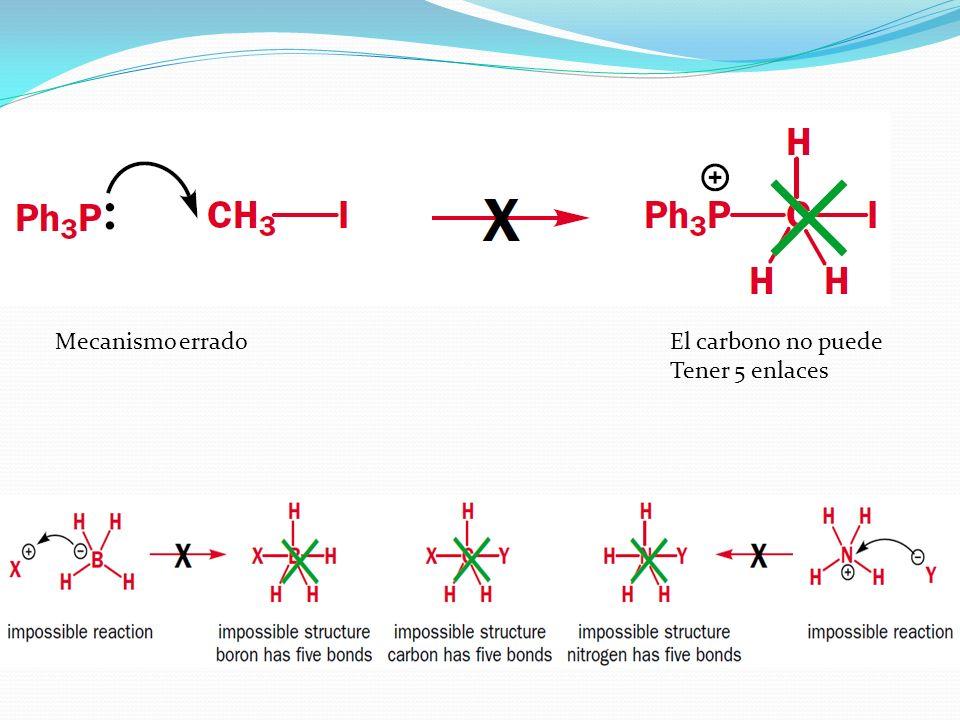 Mecanismo erradoEl carbono no puede Tener 5 enlaces