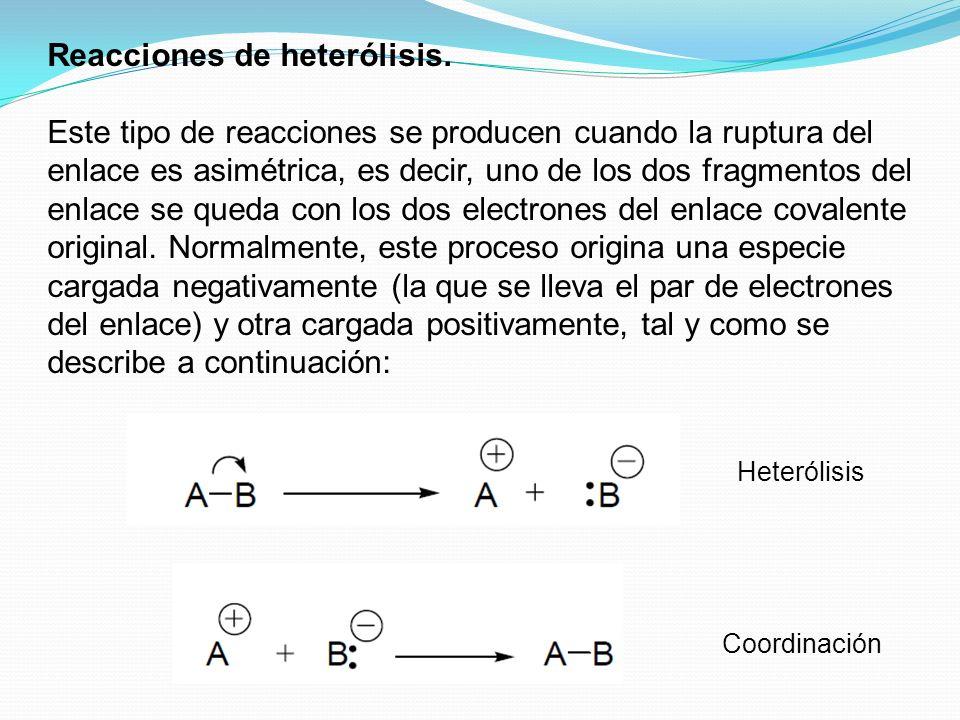 Heterólisis Coordinación Reacciones de heterólisis. Este tipo de reacciones se producen cuando la ruptura del enlace es asimétrica, es decir, uno de l