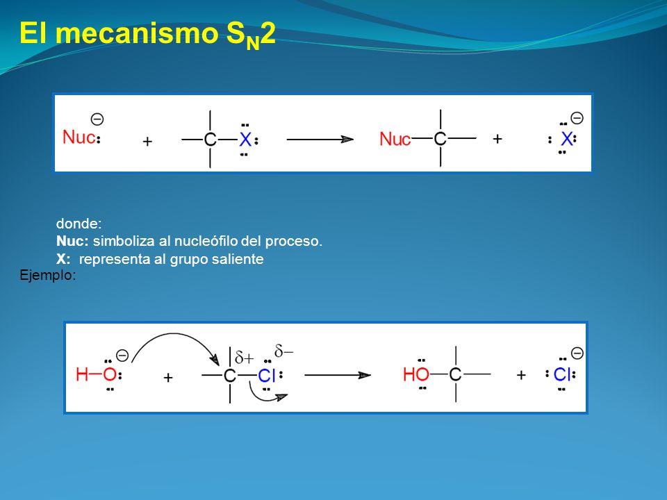 El mecanismo S N 2 donde: Nuc: simboliza al nucleófilo del proceso. X: representa al grupo saliente Ejemplo: