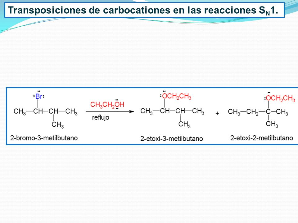 Transposiciones de carbocationes en las reacciones S N 1.