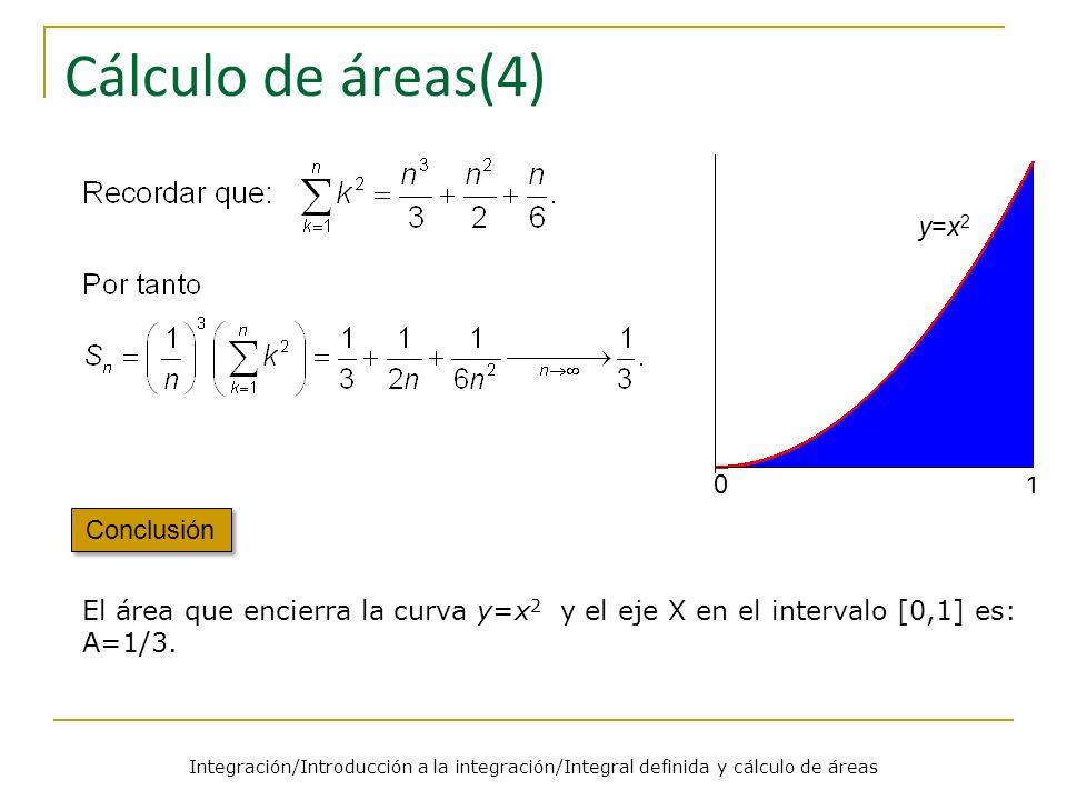 Integración/Introducción a la integración/Integral definida y cálculo de áreas Área encerrada bajo la gráfica de una función Teorema Las consideraciones anteriores estaban basadas en la idea intuitiva de lo que es el área encerrada por una función.