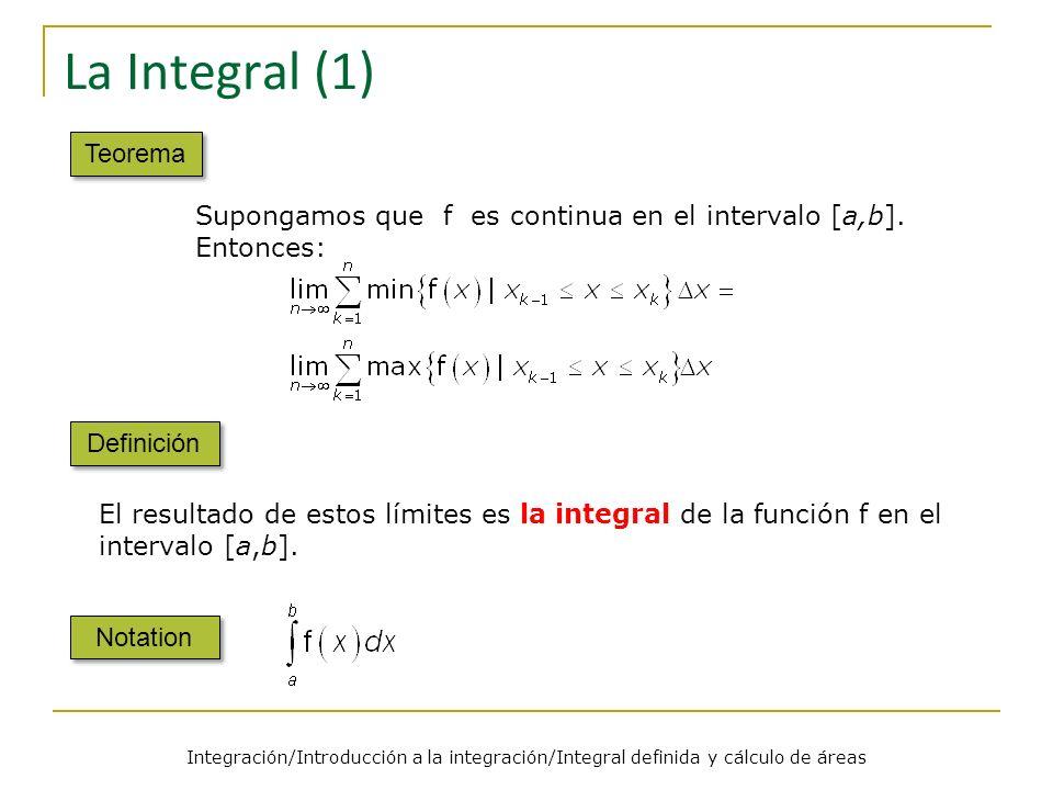 Integración/Introducción a la integración/Integral definida y cálculo de áreas La Integral (2) Observación Eligiendo un punto cualquiera z k [x k-1, x k ] para cada k=1,2,…,n, se verifica El resultado anterior muestra que, para funciones continuas, se tiene: Esta es una observación importante, ya que nos permitirá aproximar numéricamente integrales que no podemos calcular de otra forma.