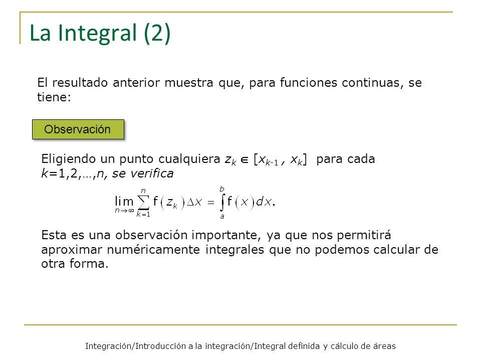 Integración/Introducción a la integración/Integral definida y cálculo de áreas Ejemplos (1) Ejemplo 1 Solución Por definición Conclusión Ahora aplicamos la fórmula para la suma de cuadrados.
