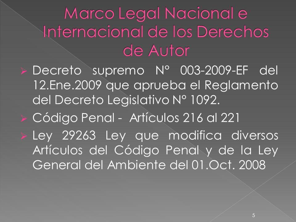 Decreto supremo N° 003-2009-EF del 12.Ene.2009 que aprueba el Reglamento del Decreto Legislativo N° 1092.