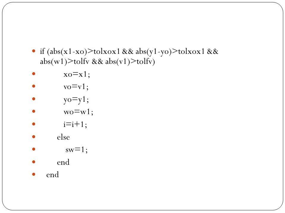 if (abs(x1-xo)>tolxox1 && abs(y1-yo)>tolxox1 && abs(w1)>tolfv && abs(v1)>tolfv) xo=x1; vo=v1; yo=y1; wo=w1; i=i+1; else sw=1; end
