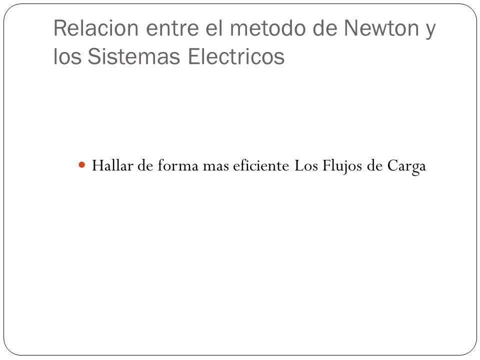 Relacion entre el metodo de Newton y los Sistemas Electricos Hallar de forma mas eficiente Los Flujos de Carga