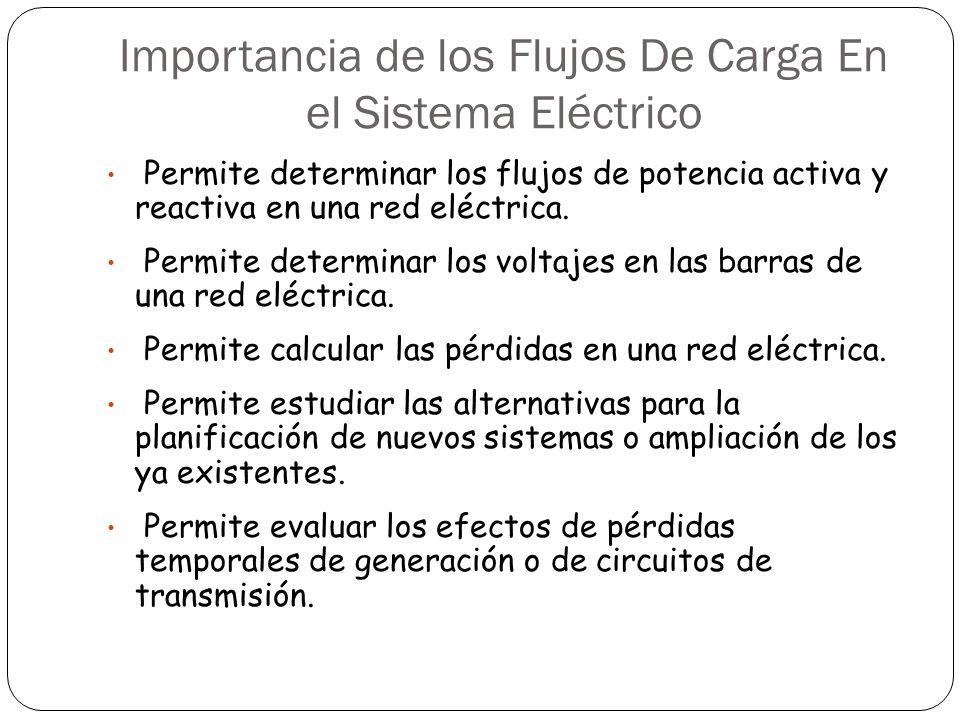 Importancia de los Flujos De Carga En el Sistema Eléctrico Permite determinar los flujos de potencia activa y reactiva en una red eléctrica. Permite d