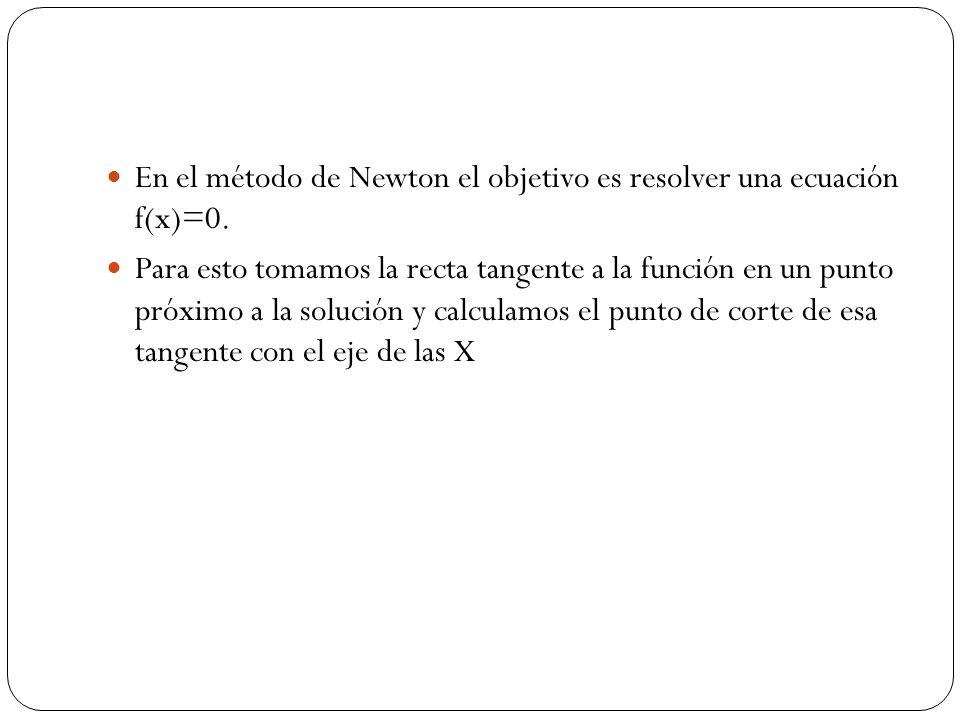 En el método de Newton el objetivo es resolver una ecuación f(x)=0. Para esto tomamos la recta tangente a la función en un punto próximo a la solución