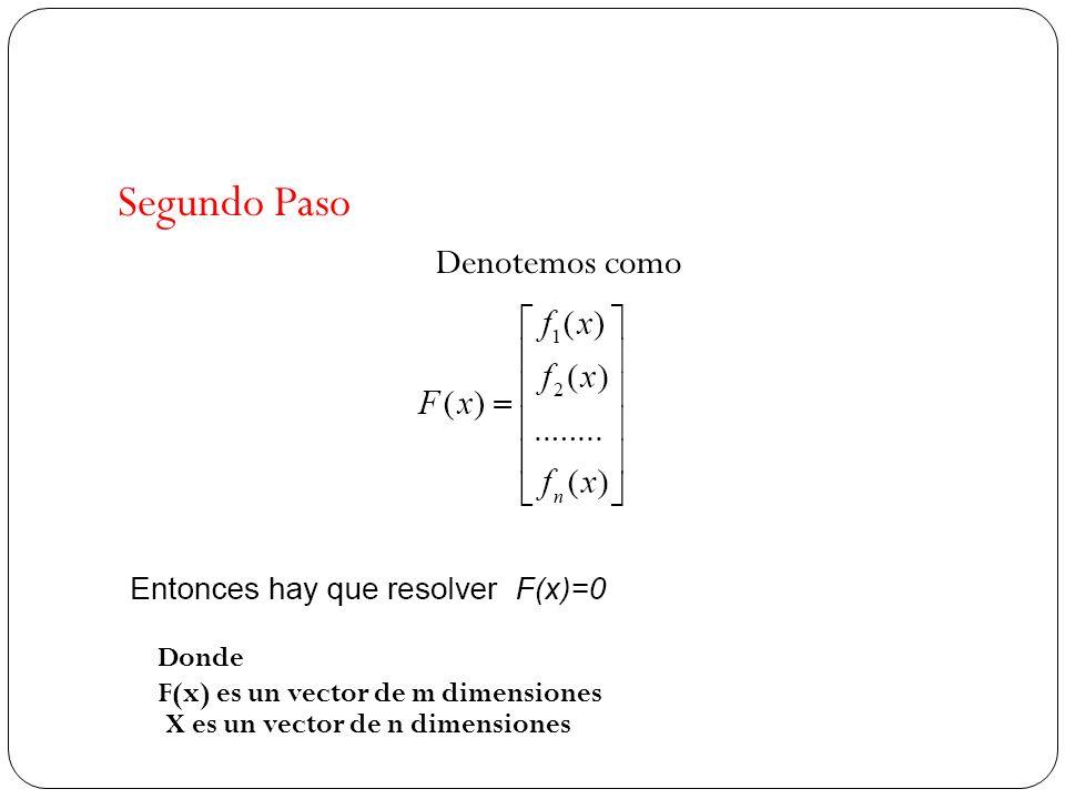 Segundo Paso Denotemos como Donde F(x) es un vector de m dimensiones X es un vector de n dimensiones