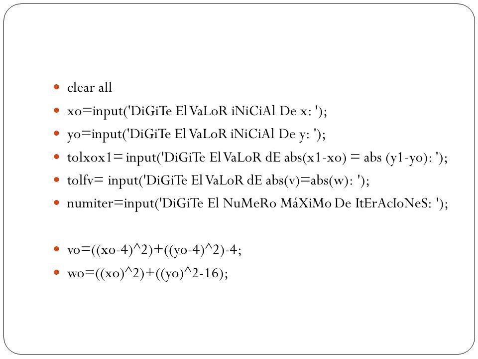 clear all xo=input('DiGiTe El VaLoR iNiCiAl De x: '); yo=input('DiGiTe El VaLoR iNiCiAl De y: '); tolxox1= input('DiGiTe El VaLoR dE abs(x1-xo) = abs