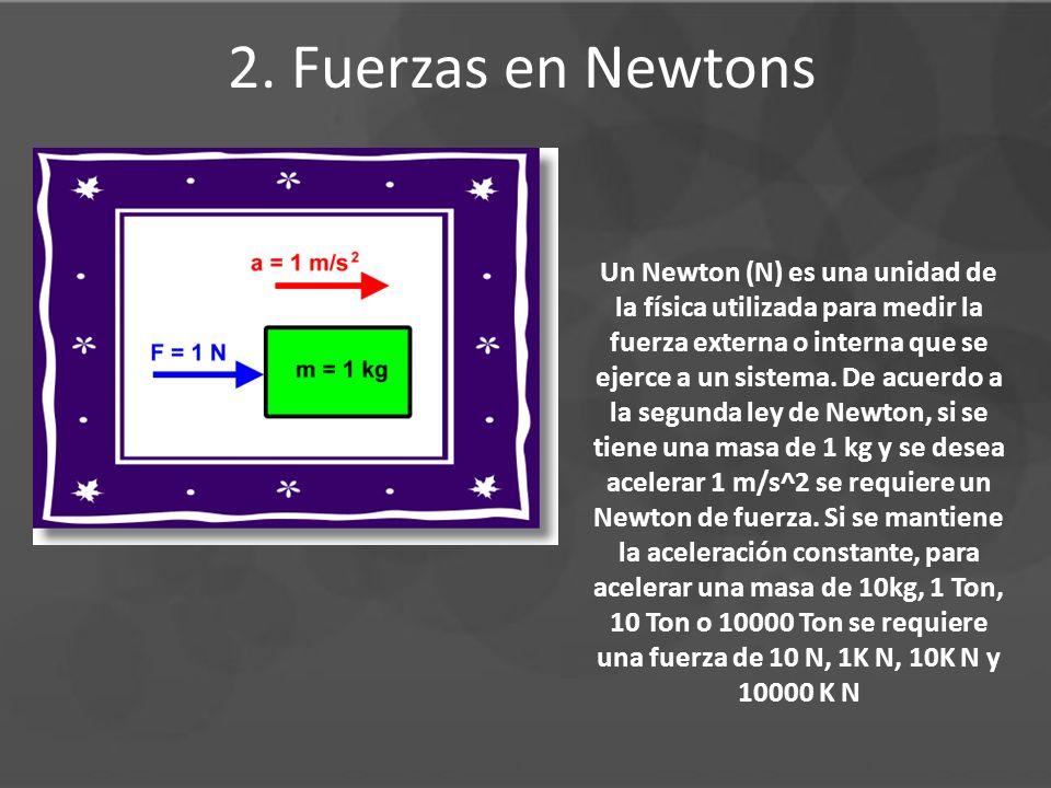 2. Fuerzas en Newtons Un Newton (N) es una unidad de la física utilizada para medir la fuerza externa o interna que se ejerce a un sistema. De acuerdo