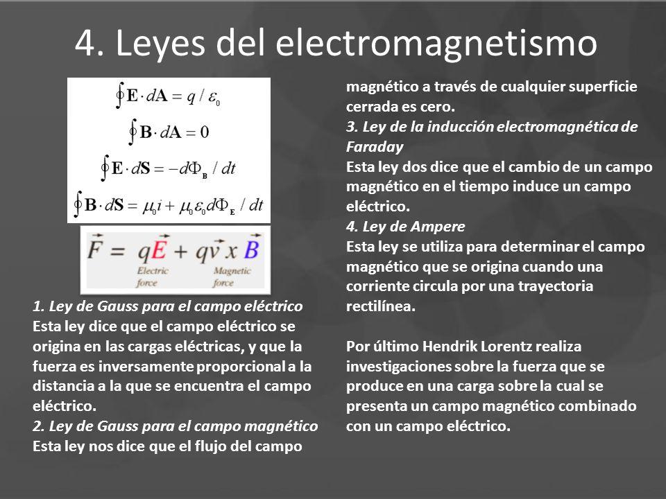 4. Leyes del electromagnetismo 1. Ley de Gauss para el campo eléctrico Esta ley dice que el campo eléctrico se origina en las cargas eléctricas, y que