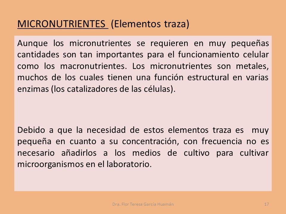 MICRONUTRIENTES (Elementos traza) Aunque los micronutrientes se requieren en muy pequeñas cantidades son tan importantes para el funcionamiento celular como los macronutrientes.