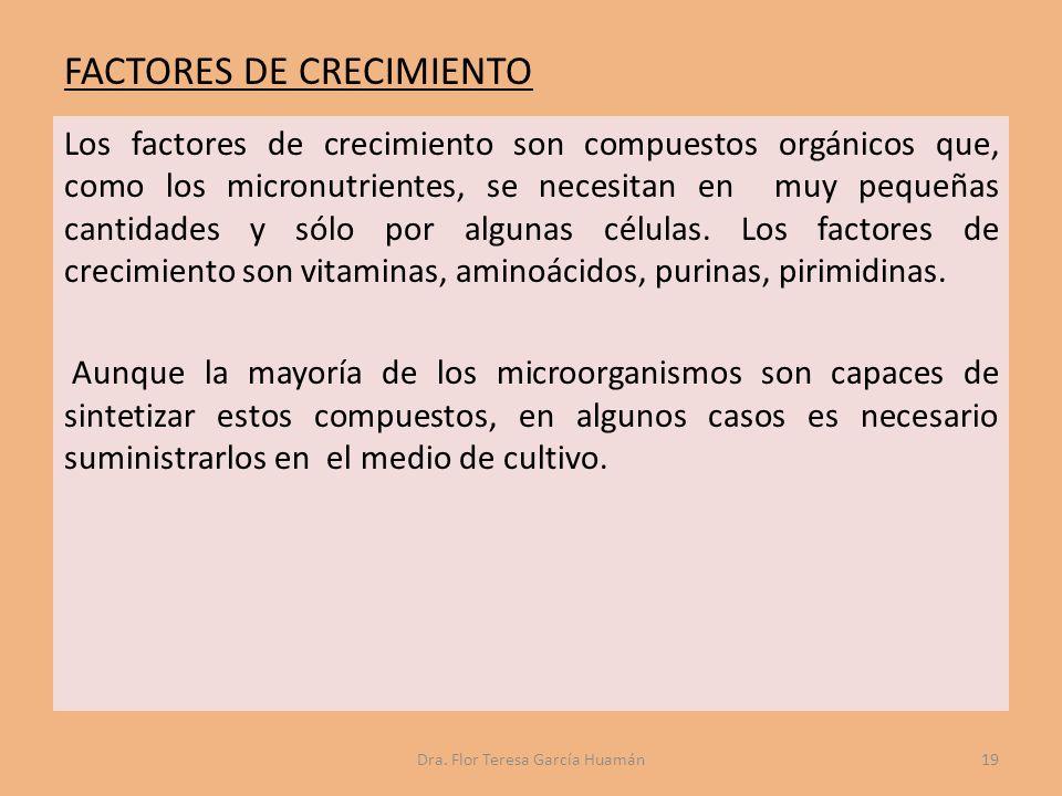 FACTORES DE CRECIMIENTO Los factores de crecimiento son compuestos orgánicos que, como los micronutrientes, se necesitan en muy pequeñas cantidades y sólo por algunas células.