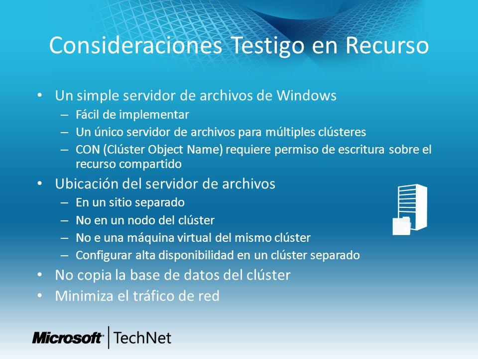 Consideraciones Testigo en Recurso Un simple servidor de archivos de Windows – Fácil de implementar – Un único servidor de archivos para múltiples clú