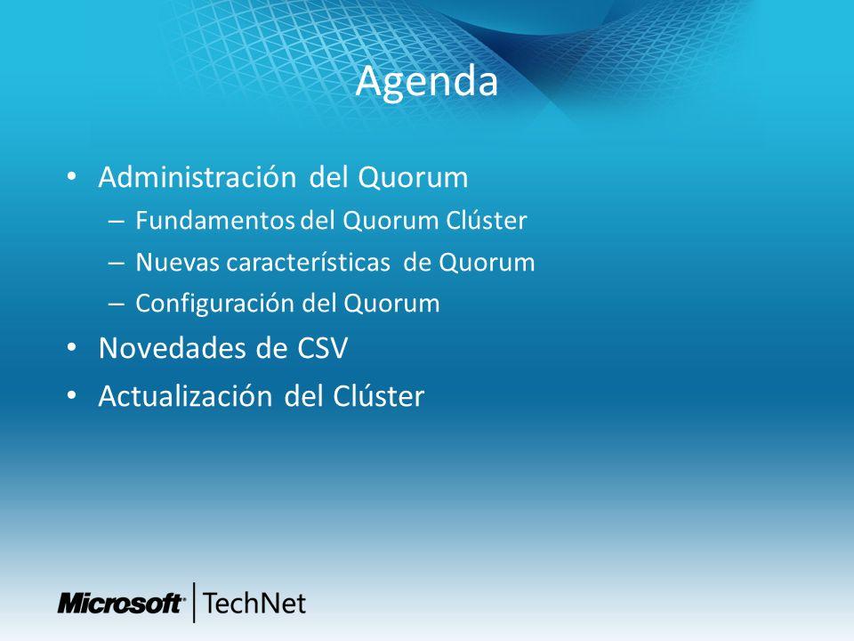 Agenda Administración del Quorum – Fundamentos del Quorum Clúster – Nuevas características de Quorum – Configuración del Quorum Novedades de CSV Actua