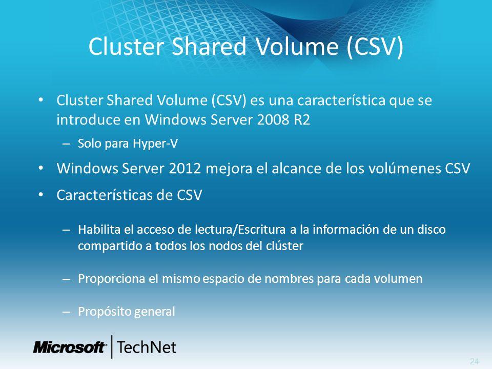 24 Cluster Shared Volume (CSV) Cluster Shared Volume (CSV) es una característica que se introduce en Windows Server 2008 R2 – Solo para Hyper-V Window