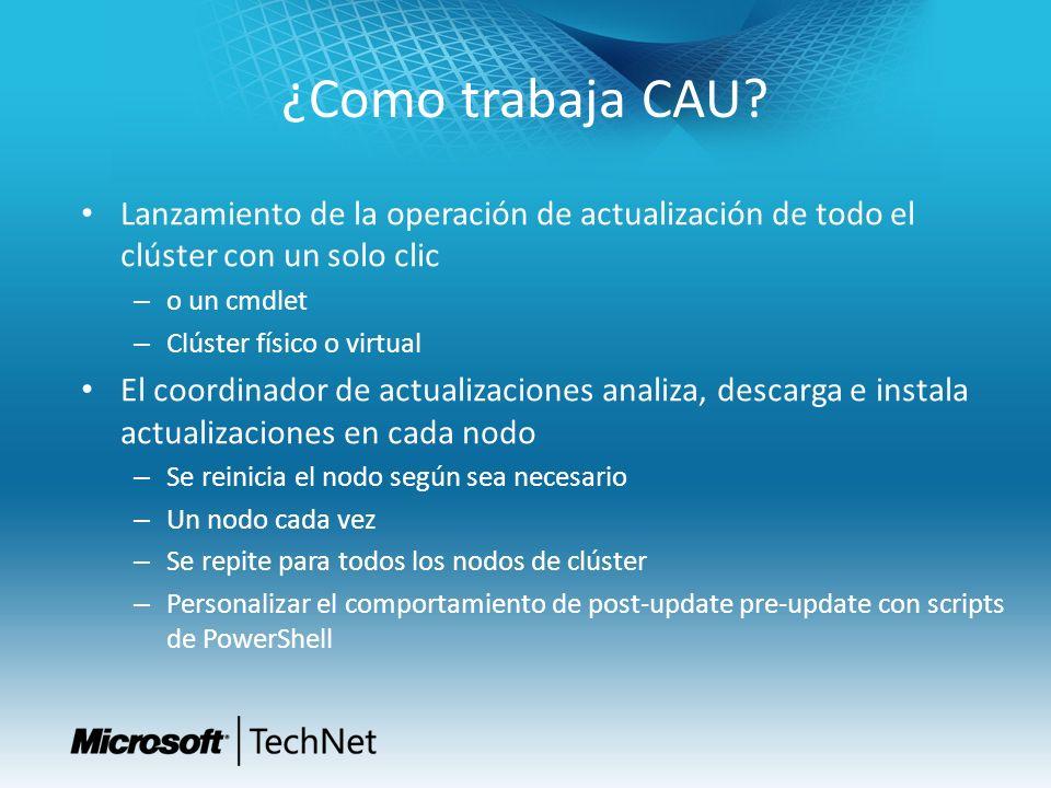 ¿Como trabaja CAU? Lanzamiento de la operación de actualización de todo el clúster con un solo clic – o un cmdlet – Clúster físico o virtual El coordi
