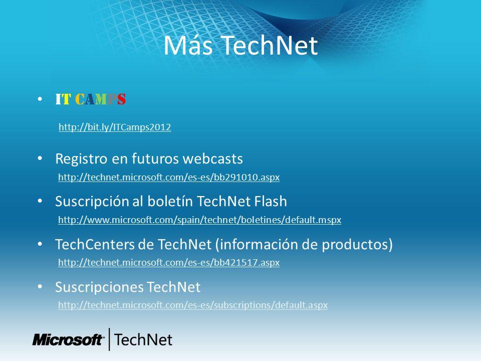 Más TechNet IT CAMPS http://bit.ly/ITCamps2012 Registro en futuros webcasts http://technet.microsoft.com/es-es/bb291010.aspx Suscripción al boletín Te
