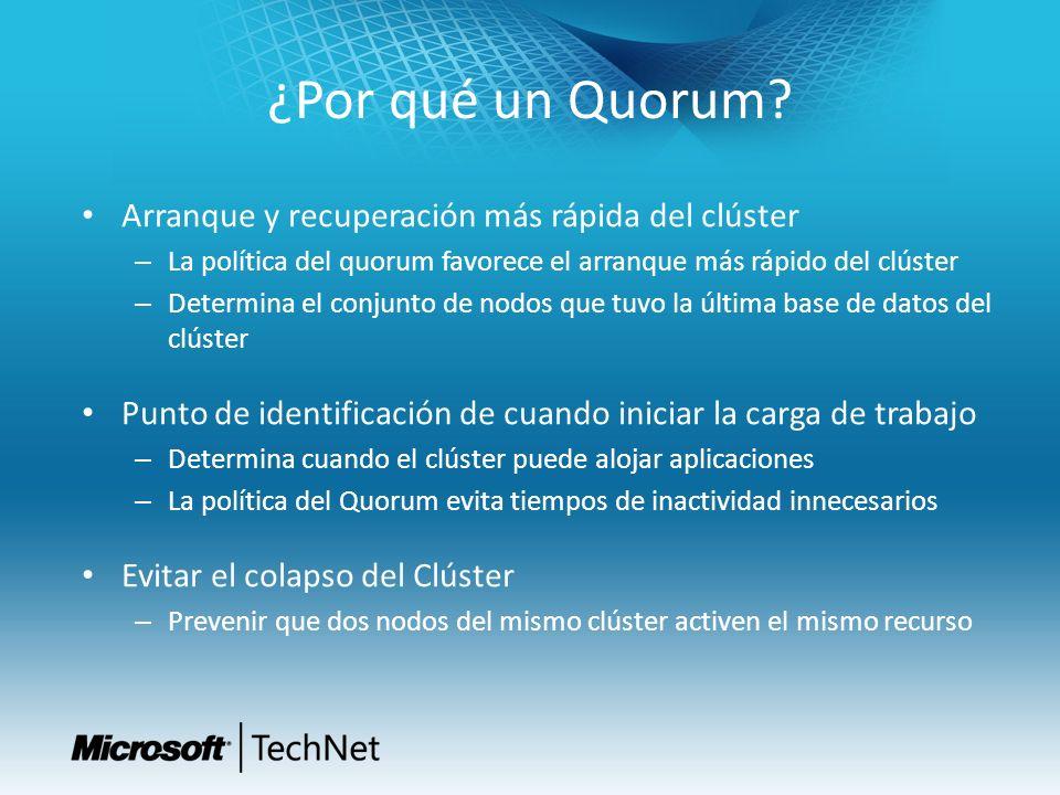 Objetivo del Quorum Windows Server 2012 Simplificar la configuración del Quorum – El Quorum no debería afectar al número de nodos en el clúster – Simplificar la selección del tipo de Quorum – Nuevo asistente para la configuración del Quorum Incrementar la disponibilidad del clúster – Clúster más resistente a fallos de nodo y testigo – El clúster puede sobrevivir con menos 50% de los nodos mayoritarios con Quorum Dinámico