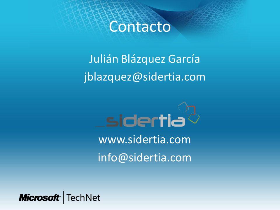 Contacto Julián Blázquez García jblazquez@sidertia.com www.sidertia.com info@sidertia.com