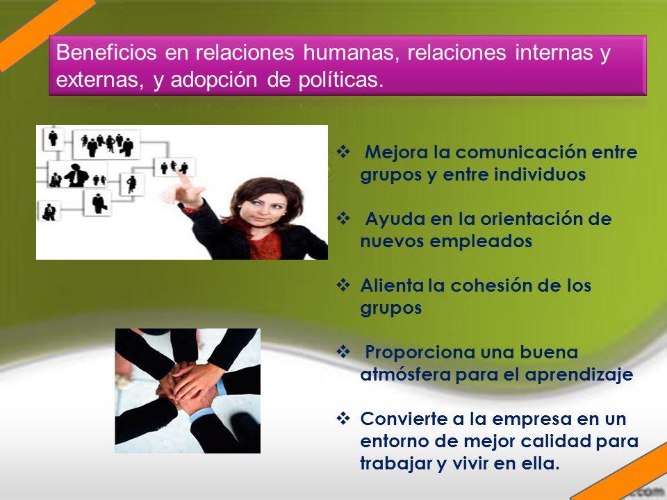 Mejora la comunicación entre grupos y entre individuos Ayuda en la orientación de nuevos empleados Alienta la cohesión de los grupos Proporciona una b