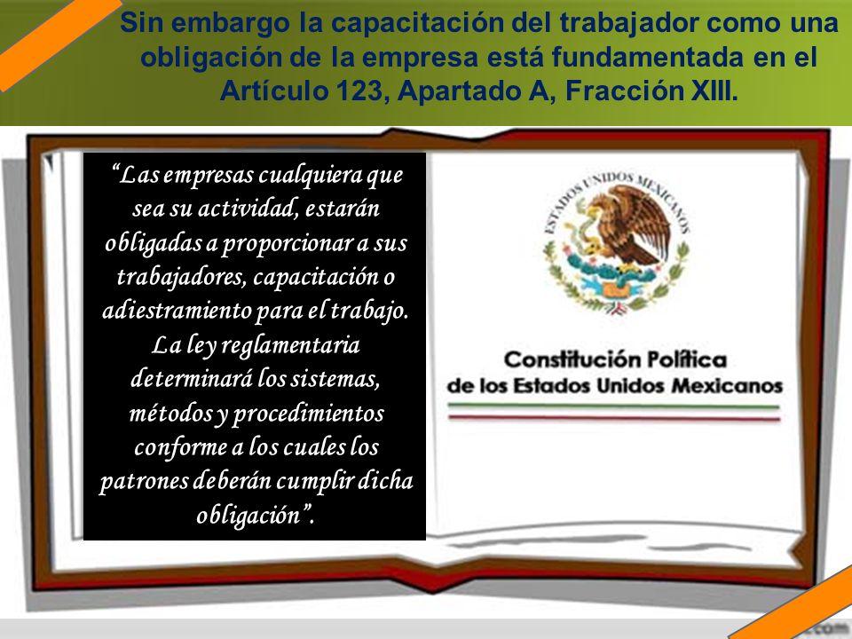 Sin embargo la capacitación del trabajador como una obligación de la empresa está fundamentada en el Artículo 123, Apartado A, Fracción XIII.. Las emp