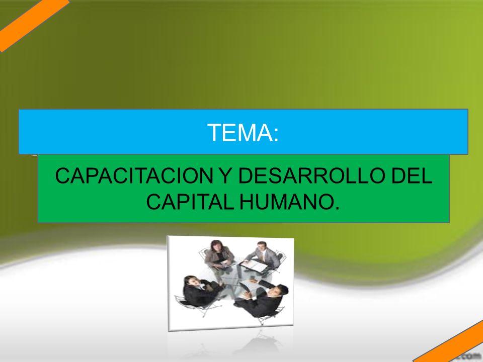 CAPACITACION Y DESARROLLO DEL CAPITAL HUMANO. TEMA: