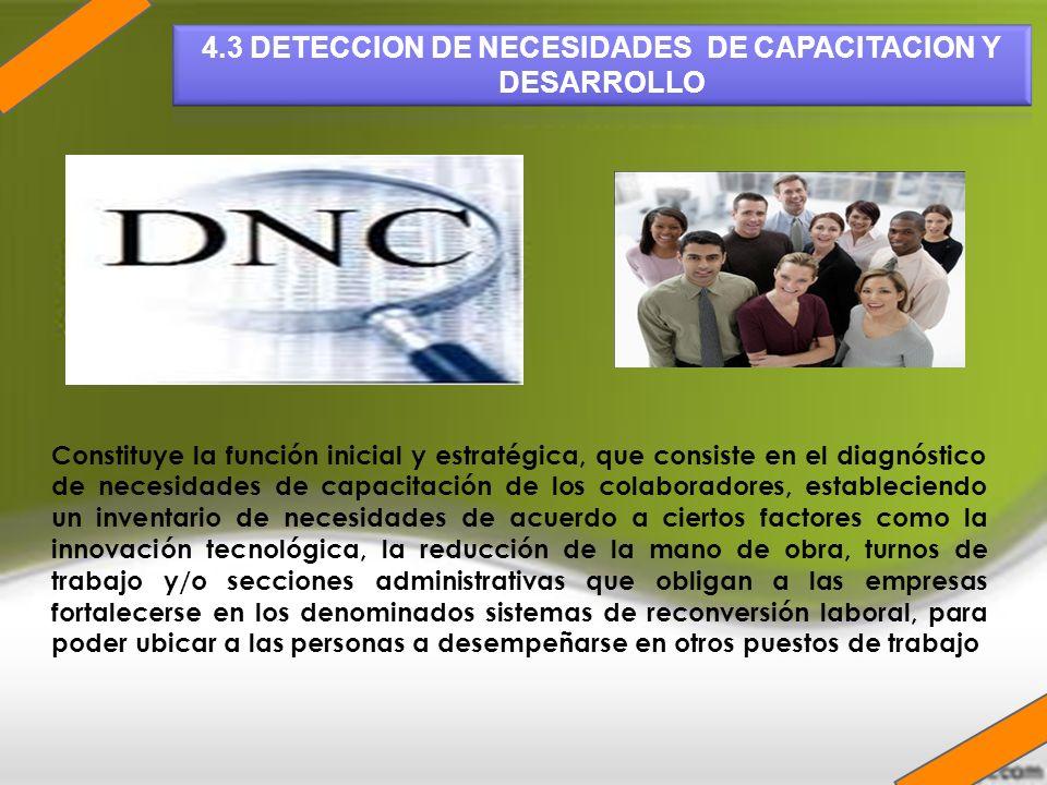 Constituye la función inicial y estratégica, que consiste en el diagnóstico de necesidades de capacitación de los colaboradores, estableciendo un inve