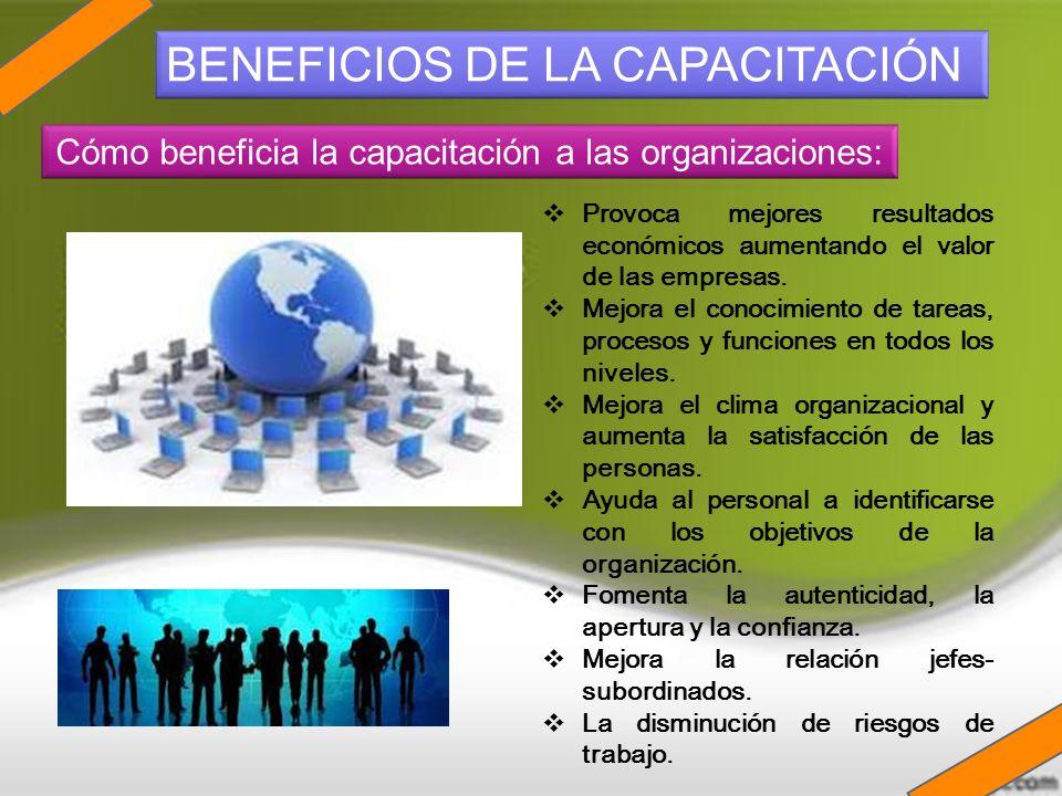 Provoca mejores resultados económicos aumentando el valor de las empresas. Mejora el conocimiento de tareas, procesos y funciones en todos los niveles