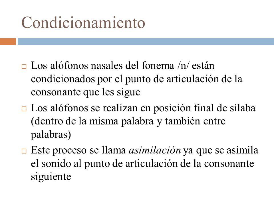 Condicionamiento Los alófonos nasales del fonema /n/ están condicionados por el punto de articulación de la consonante que les sigue Los alófonos se r