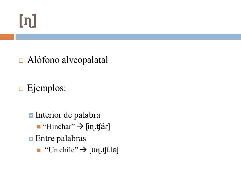 [ɳ][ɳ] Alófono alveopalatal Ejemplos: Interior de palabra Hinchar [i ɳ. ʧ á ɾ ] Entre palabras Un chile [u ɳ. ʧ í.le]