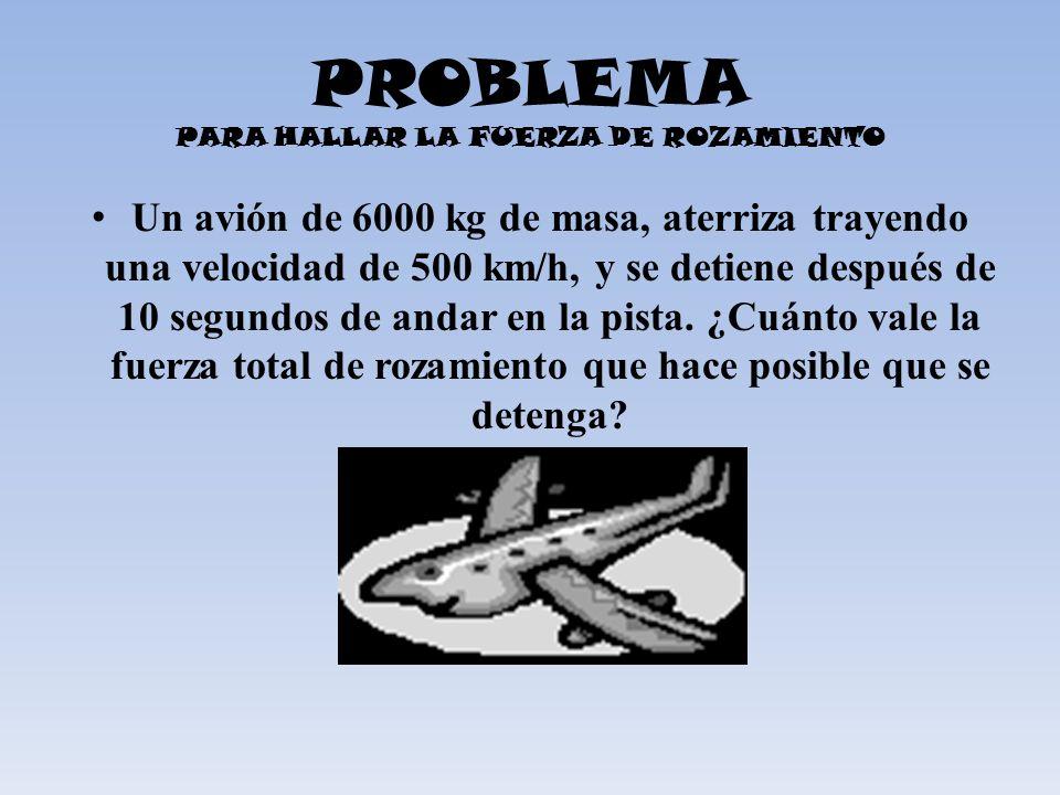 PROBLEMA PARA HALLAR LA FUERZA DE ROZAMIENTO Un avión de 6000 kg de masa, aterriza trayendo una velocidad de 500 km/h, y se detiene después de 10 segu