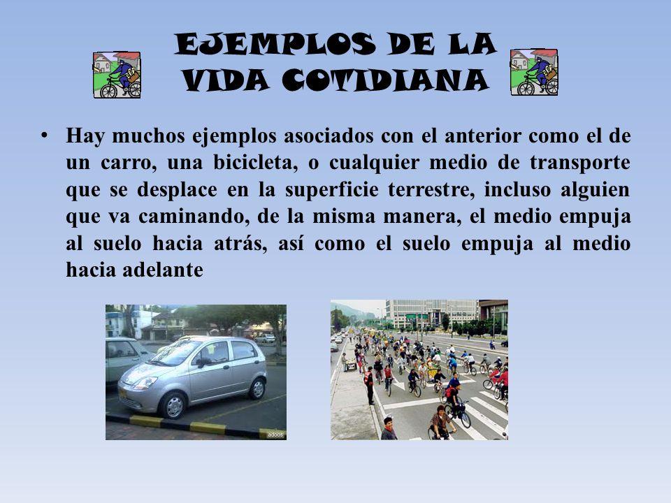 EJEMPLOS DE LA VIDA COTIDIANA Hay muchos ejemplos asociados con el anterior como el de un carro, una bicicleta, o cualquier medio de transporte que se